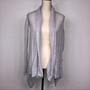 Zara Knit Long Sleeve Duster Cardigan Gray Natural